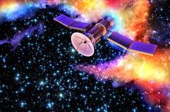 modello 3D di un satellite artificiale della terra Immagini Stock