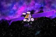 modello 3D di un satellite artificiale della terra Immagini Stock Libere da Diritti