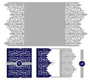 Modello d'imballaggio della carta elegante dell'invito di nozze Modello per il taglio del laser Busta reale di vettore Fotografie Stock Libere da Diritti