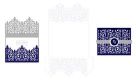 Modello d'imballaggio della carta elegante dell'invito di nozze Modello per il taglio del laser Busta reale di vettore Immagini Stock