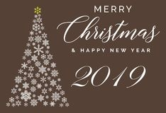 Modello d'iscrizione del buon anno e di Buon Natale 2019 Cartolina d'auguri o invito Typograph relativo di vacanze invernali illustrazione vettoriale