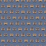 Modello dai vari bus Scuola, escursione, turista e autobus a due piani Fondo senza cuciture Stile piano di vettore royalty illustrazione gratis