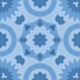 Modello decorativo blu di vettore delle piastrelle per pavimento delle mattonelle Immagini Stock Libere da Diritti