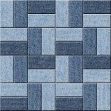 Modello decorativo delle mattonelle - fondo senza cuciture - struttura delle blue jeans Fotografia Stock