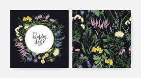 Modello decorativo quadrato della carta con i fiori di fioritura felici di desiderio e del prato di giorno e le angiosperme selva illustrazione di stock