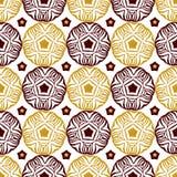 Modello decorativo senza cuciture del cerchio con l'ornamento etnico dell'oro Può essere usato per la carta da parati, i material Fotografia Stock