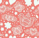 Modello decorato floreale con molti dettagli svegli Bella priorità bassa senza giunte Fotografia Stock