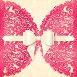 Modello decorato rosa della cartolina d'auguri di vettore del pizzo Fotografia Stock