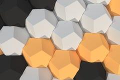 Modello degli elementi esagonali bianchi, arancio e neri Fotografia Stock Libera da Diritti