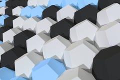 Modello degli elementi esagonali bianchi, blu e neri Immagine Stock
