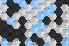 Modello degli elementi esagonali bianchi, blu e neri Fotografia Stock