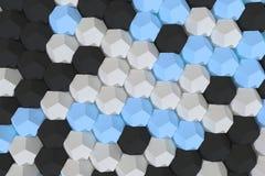 Modello degli elementi esagonali bianchi, blu e neri Immagini Stock
