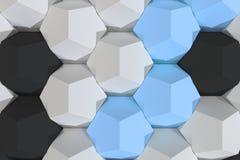 Modello degli elementi esagonali bianchi, blu e neri Fotografie Stock