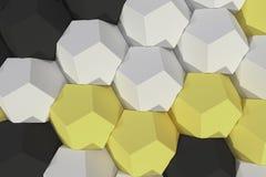 Modello degli elementi esagonali bianchi, gialli e neri Fotografie Stock