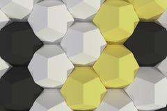 Modello degli elementi esagonali bianchi, gialli e neri Immagini Stock