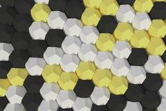Modello degli elementi esagonali bianchi, gialli e neri Immagini Stock Libere da Diritti