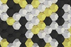 Modello degli elementi esagonali bianchi, gialli e neri Immagine Stock Libera da Diritti