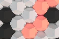 Modello degli elementi esagonali bianchi, rossi e neri Fotografia Stock
