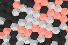 Modello degli elementi esagonali bianchi, rossi e neri Fotografia Stock Libera da Diritti