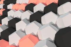 Modello degli elementi esagonali bianchi, rossi e neri Immagini Stock Libere da Diritti