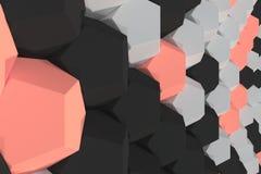 Modello degli elementi esagonali bianchi, rossi e neri Fotografie Stock