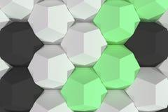 Modello degli elementi esagonali bianchi, verdi e neri Immagine Stock Libera da Diritti