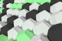 Modello degli elementi esagonali bianchi, verdi e neri Fotografia Stock