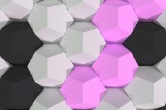 Modello degli elementi esagonali bianchi, viola e neri Fotografia Stock Libera da Diritti