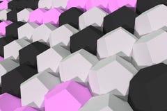 Modello degli elementi esagonali bianchi, viola e neri Fotografia Stock