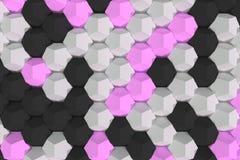Modello degli elementi esagonali bianchi, viola e neri Immagini Stock