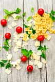 Modello degli ingredienti della pasta Immagini Stock Libere da Diritti