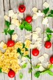 Modello degli ingredienti della pasta Immagini Stock