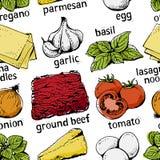 Modello degli ingredienti delle lasagne al forno Fotografia Stock Libera da Diritti
