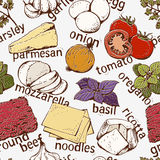 Modello degli ingredienti delle lasagne al forno Fotografia Stock