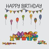 Modello degli insiemi di carta dell'invito di compleanno illustrazione di stock