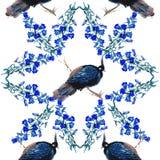 Modello degli uccelli e di fiori dell'acquerello Immagini Stock