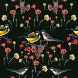 Modello degli uccelli e di fiori dell'acquerello Fotografie Stock