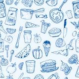 Modello degli utensili da cucina e dell'alimento Fotografie Stock Libere da Diritti