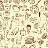 Modello degli utensili da cucina e dell'alimento Immagini Stock
