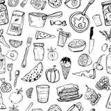 Modello degli utensili della cucina e degli oggetti di cottura Fotografia Stock