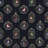 Modello dei birdcages dell'oro Fotografia Stock Libera da Diritti