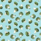 Modello dei broccoli dell'acquerello illustrazione di stock