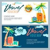 Modello dei buoni viaggio del regalo di vettore Paesaggio tropicale dell'isola con la palma e la valigia dei bagagli Immagine Stock
