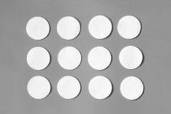 Modello dei cuscinetti di cotone su fondo grigio Disposizione piana Immagini Stock