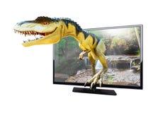 Modello dei dinosauri sul fondo della natura Immagini Stock