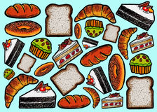 Modello dei dolci e del pane Fotografie Stock Libere da Diritti