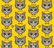 Modello dei gatti del cranio dello zucchero Giorno messicano dei morti Fotografia Stock Libera da Diritti