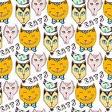 Modello dei gatti di scarabocchio Pagina senza cuciture variopinta disegnata a mano Indicatore luminoso di vettore art Immagine Stock Libera da Diritti