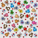Modello dei giocattoli Teddy Bears, conigli, palle e cuore Immagine Stock