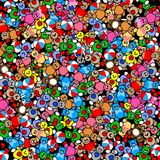 Modello dei giocattoli Teddy Bears, conigli, palle e cuore Fotografia Stock Libera da Diritti